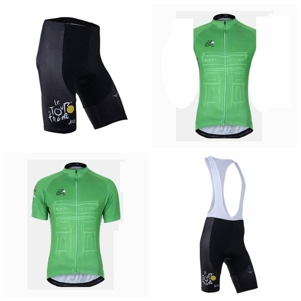 Tour De France Team Ciclismo Manga corta Jersey (babero) Shorts Conjuntos de chaleco sin mangas Verano Hombres S Ropa de secado rápido al aire libre Q50708