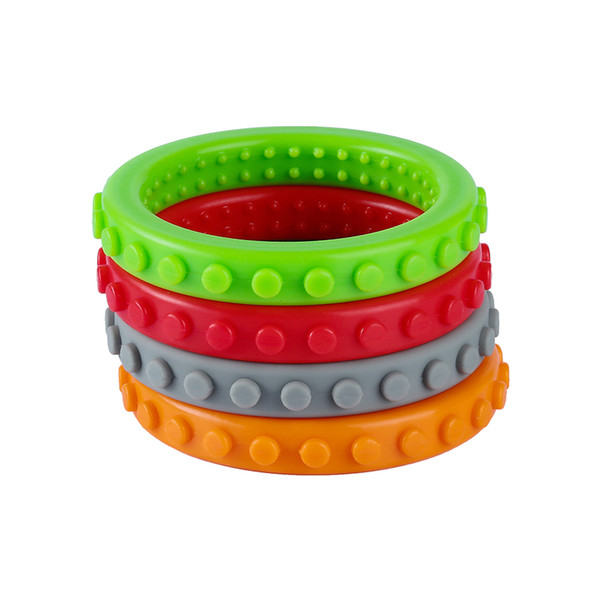 Brick bracelet textured chew bangle baby teether fda approval ilicone teething toy for toddler kid auti m adhd