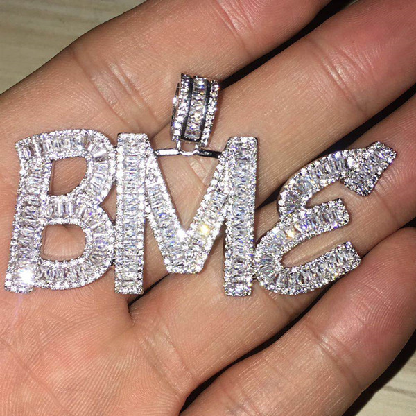 top popular Custom Name Baguette Letters Hip Hop Pendant With Free Rope Chain Gold Silver Bling Zirconia Men Hip Hop Pendant Jewelry 2021