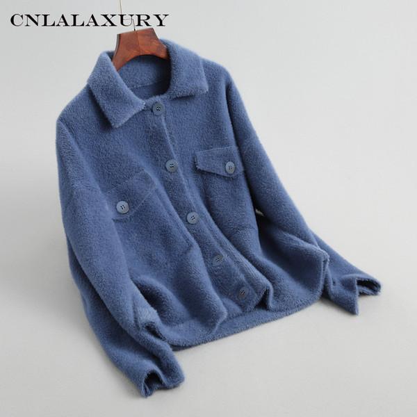 2019autunno inverno giacca donna cappotto giacca casual bavero manica lunga decorazione tasca maglione lavorato a maglia peluche