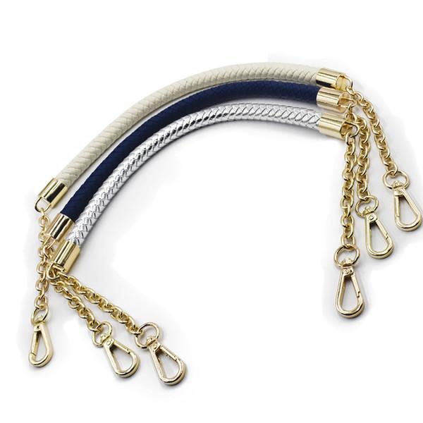 8 Colors 2pcs 60cm PU+Metal Handle Strap Chain for Weave Bag Handbag Accessories