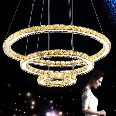 Modern K9 LED Crystal Chandeliers Circle Rings Crystal Pendant Light for Living Romm Dining Room Dedroom
