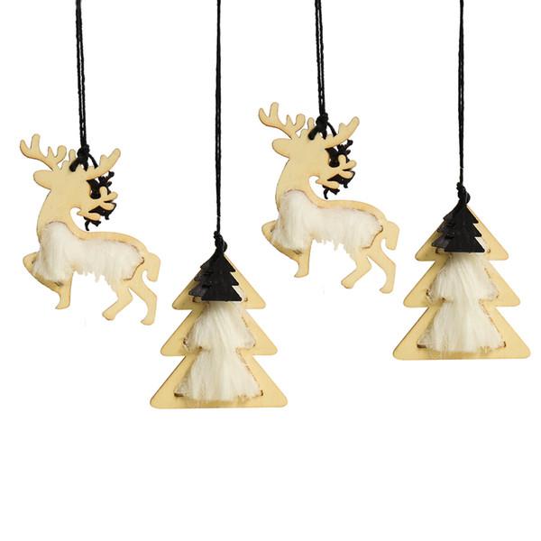 Artisanat en bois ornements d'arbres de Noël pendentif Tentures rustiques en bois de renne et arbre de Noël pour la fête 4 pièces