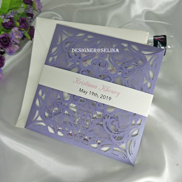 Romantic Lavender Floral Laser Cut Fold Invitations Cards With Cream Belt For Quinceanera Wedding Invites Free Printing Wedding Invitation Boxes