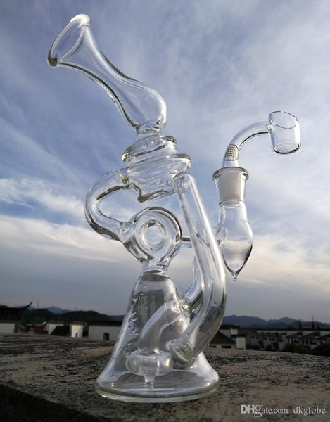 Dhzeus est mixed colors glass bong water pipes glass bubbler with tyre oil rig with quartz banger 14.4mm joint