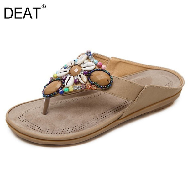 [DEAT] 2019 New Spring Summer Round Toe Pu Leather String Bead Flat Simple Comfortable Slippers Women Shoes Fashion Tide 10SJ499