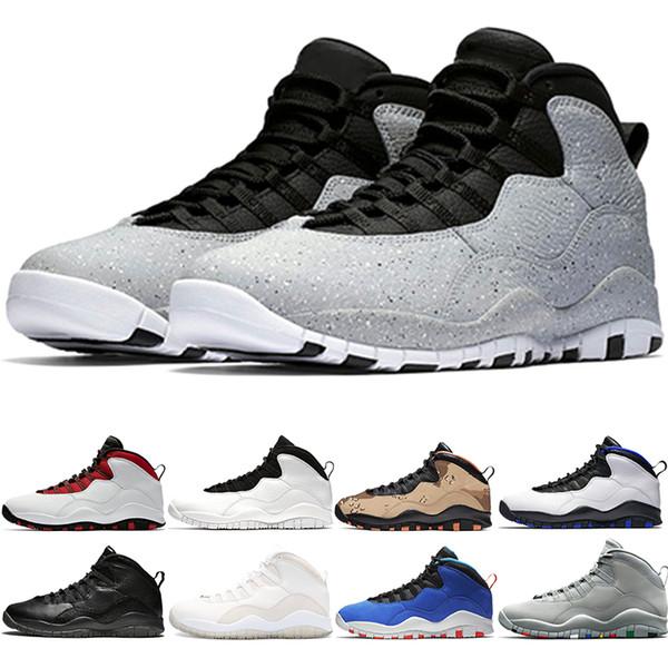 Großhandel Nike Jordan Air Retro 10er Jahre Basketballschuhe 10 Männer Orlando Desert Camo Cement Schwarz Weiß Westbrook OVO Schwarz Weiß New Athletic