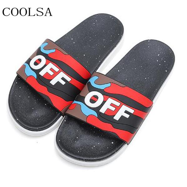 COOLSA Men's Summer Camouflage Letter Slippers Outdoor Non-slip Beach Flip Flops Home Hotel Bathroom Slippers Men Slides Sandals