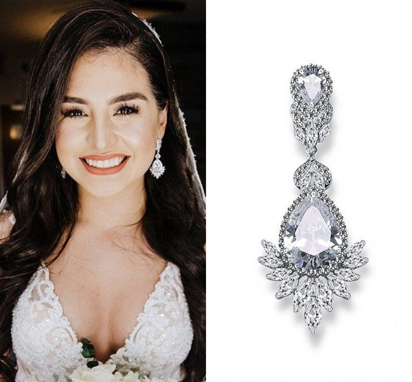 Delicate Wedding Earrings CZ Chandelier Bridal Earrings Bridesmaid Gifts Long Stud Earrings Wedding Jewelry Silver Rose Gold Royal Blue Red