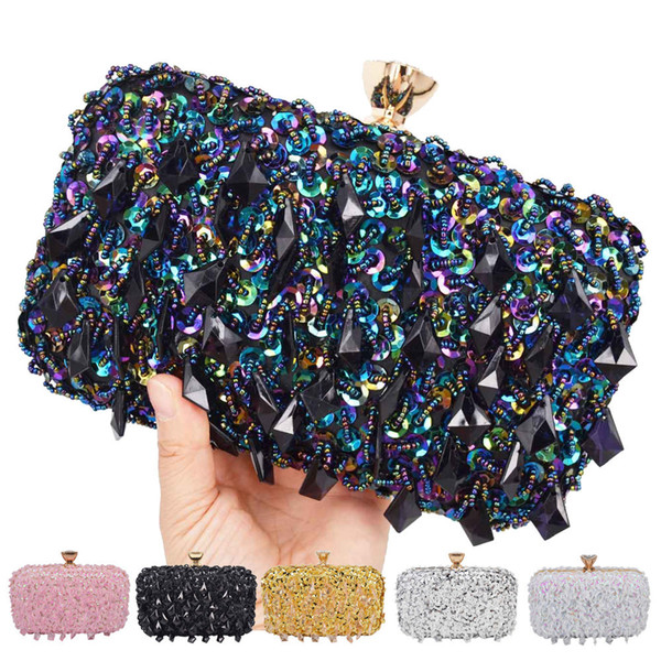 Pink Silver Gold Crystal Beaded Clutch Bags Women Party Purse Bridal Handbags Ladies Evening Bags Women Messenger Shoulder Bags Y19061903