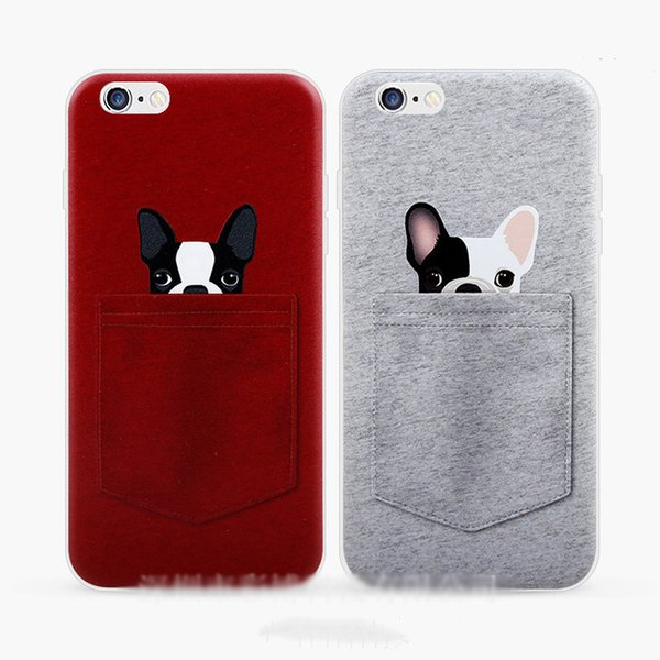 Cute Cartoon Pocket Dog Protector Shockproof ID Credic Card Slot Silicone Rubber Soft TPU Phone Case Cover Shell Skin For iPhone 6S 7 8 Plus