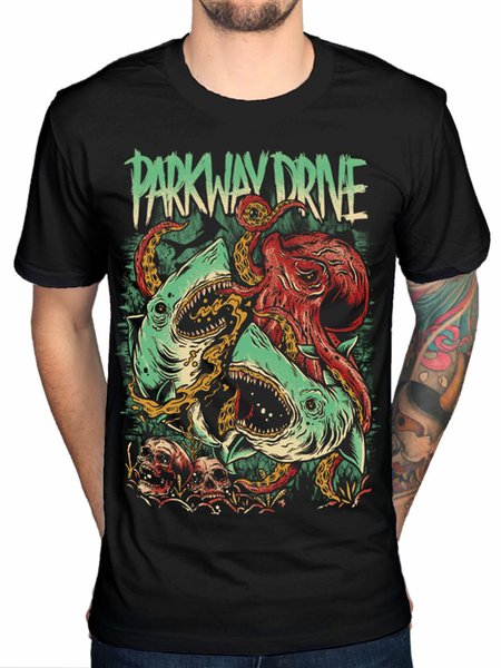 Oficial Parkway Drive NOVO Sharktapuss T-Shirt Banda Merch Metalcore 50 Lions MenFunny frete grátis Unisex Casual Tshirt top