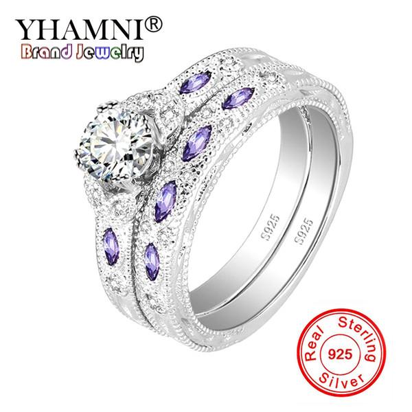 YHAMNI Original Solid 925 Sterling Silver Wedding Rings For Women Engagement Purple AAA CZ Zircon Jewelry Ring Gift KTJZ335