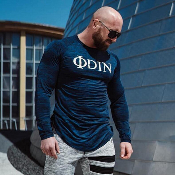 Plus Size Tights Shirt Jogger Running t-shirt Long Sleeve Sports Top Mens t shirt Fitness Bodybuilding Men Gym Sweatshirt Autumn SH190911
