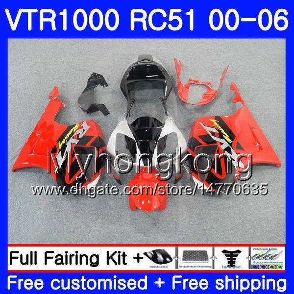 Kit For HONDA red black hot VTR1000 RC51 SP1 SP2 00 01 02 03 04 05 06 257HM.13 RTV1000 VTR 1000 2000 2001 2002 2003 2004 2005 2006 Fairing