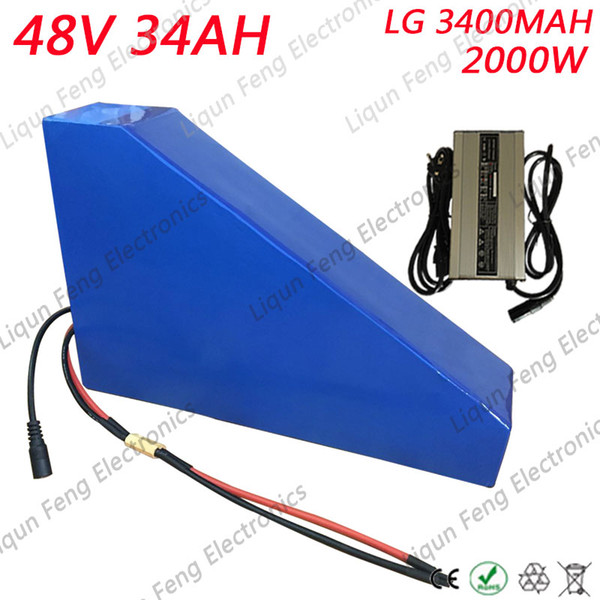 48V 34AH Triangle Llithium Battery 48V ebike battery 48V 2000W Use For LG 18650 cell li-ion battery Pack For electric Bicycle.
