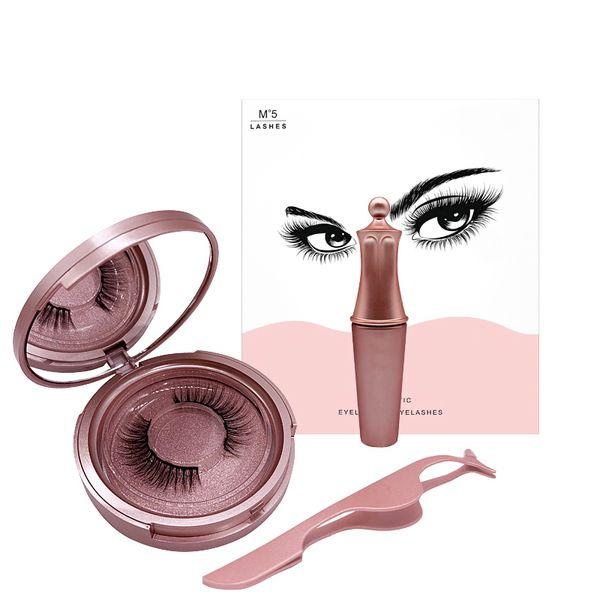 top popular New Hot Magnetic Liquid Eyeliner & Magnetic False Eyelashes & Tweezer Set Waterproof Long Lasting Eyeliner False Eyelashes 2021