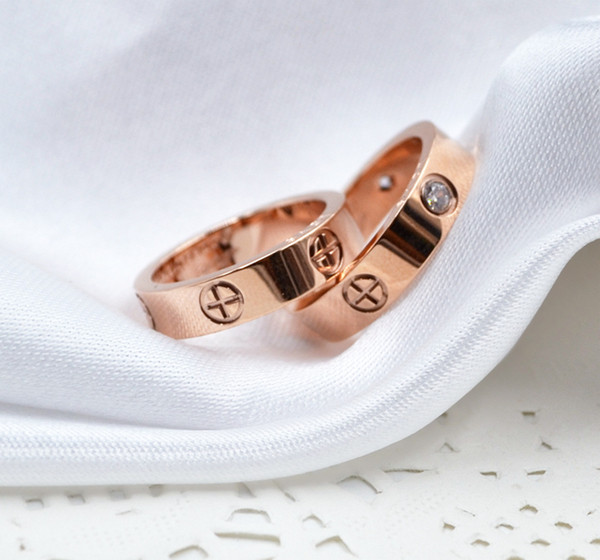 top popular 6mm titanium steel silver love ring men and women rose gold ring for lovers couple ring for gift 2021