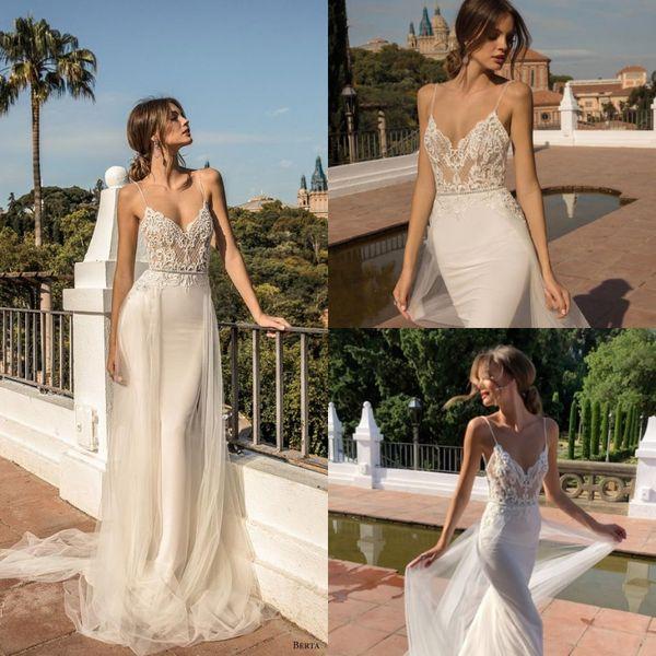 Mermaid berta wedding dresses Bohemian Cheap Summer Beach Spaghetti Straps Beaded Appliques Bridal Gowns Sexy Backless plus size boho 2019