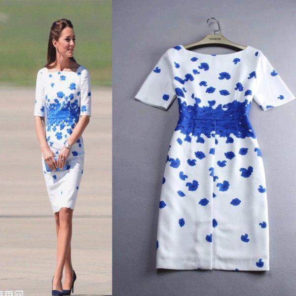 100% Echt Bild Kate Middleton Kleider Baumwolle Leinen Party Bodycon Halben Ärmel Drucken Blau Bleistift Frauen Kleid Plus Größe