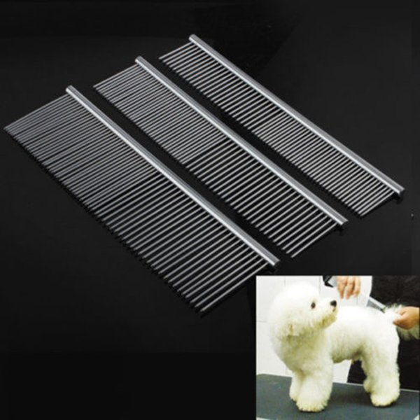 1pc Dog Comb Long Thick Hir Fur Removal Brush Stainless Steel Lightweight Pets Dog Cat Grooming Combs For Shaggy Dogs Barber