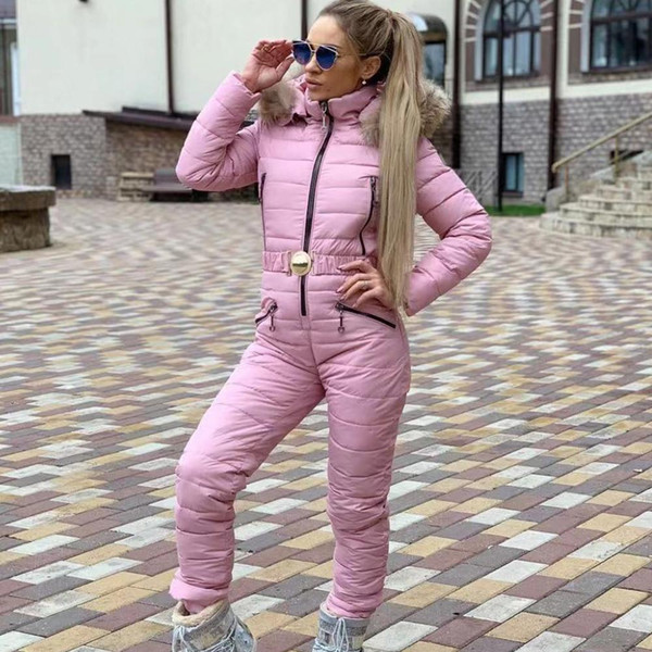 top popular Winter Hooded Jumpsuits Elegant Cotton Padded Warm Ski Suit Straight Zipper Women Casual Tracksuits High Quality Winter Outwear 2021