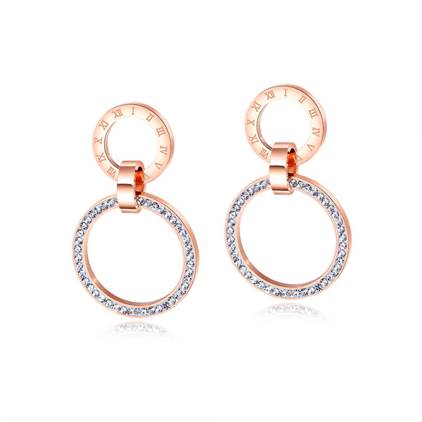 Roman Numerals Earrings Crystal Rose Gold Circle of Life Earrings in Stainless Steel