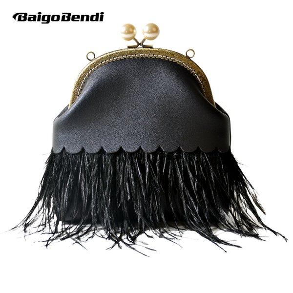 Frau Verschluss Troddel Tasche Spezielle Straußenhaar Tageskupplung Damen Elegante Schwarze Abendtasche Rahmen Kleine Schulter Fransen