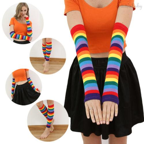 2019 1Pair Colorful Arm Warmers Women Winter Rainbow Slouch Gloves Warm Knit Knee High Socks Leg Boot