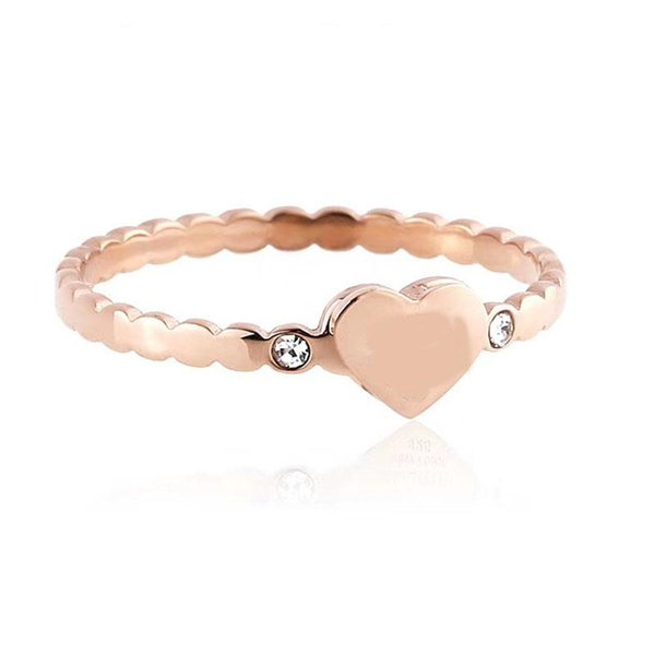 Brand T ring Titanium Steel Sliver Rose Gold and Gold plated love CZ Ring gold for lovers couple Ring Top quality
