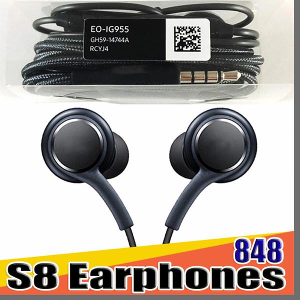 best selling 848 DHL S8 Headset Genuine Black In-Ear Headphones Earphones Handsfree For Samsung Galaxy S8 Plus DHL