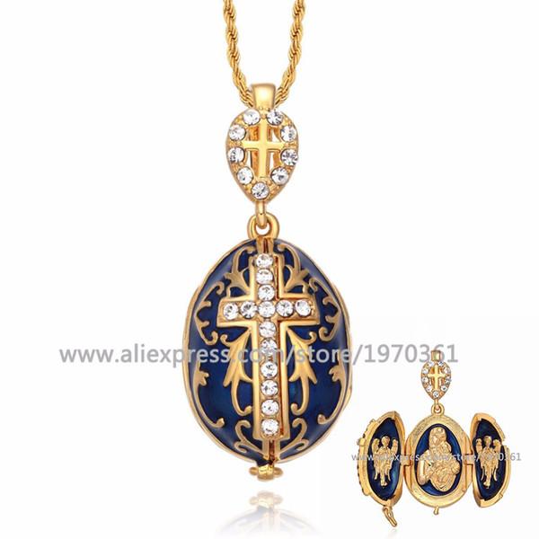 Collana ciondolo uovo Yaffil Croce gioielli d'epoca fatti a mano smalto Gesù lusso fascino di cristallo strass penetranti regali per le donne J190519
