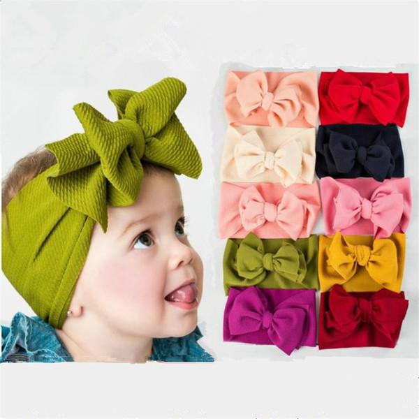 Hot-selling twill foam knitted elastic Baby Headband DIY big bow hair band Children's Fashion Hair Hoop T9G0034