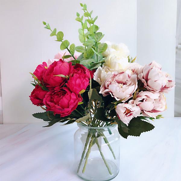 New MINI Artificial Flowers Silk Peony Flores Camellia for Home Wedding Decoration Fake Flower Bouquet Farmhouse Decor
