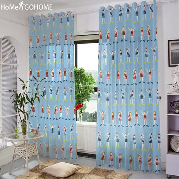 Großhandel Anime Tüll Vorhänge Für Wohnzimmer Gardinen Für Küche Kinder  Line Up Übungen Moderne Voile Kinder Schlafzimmer Von Shuishu, $37.99 Auf  ...