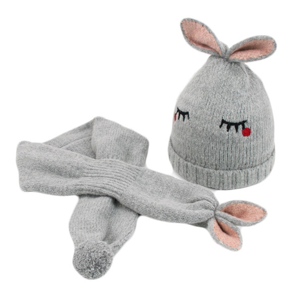 Winter Hat Children Cartoon Rabbit Wool Hat Scarf Sets Baby Boys Girls Cute Beanies Hats Thick Warm Knitted Caps For Kids 2017