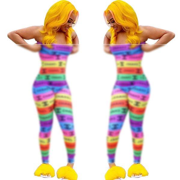 Donne senza spalline Tute a righe Marca CHAN Lettera Stampa Pantaloni lunghi Tute Moda 2019 Sexy Clubwear Party Bodycon Catsuit PagliaccettoC61403