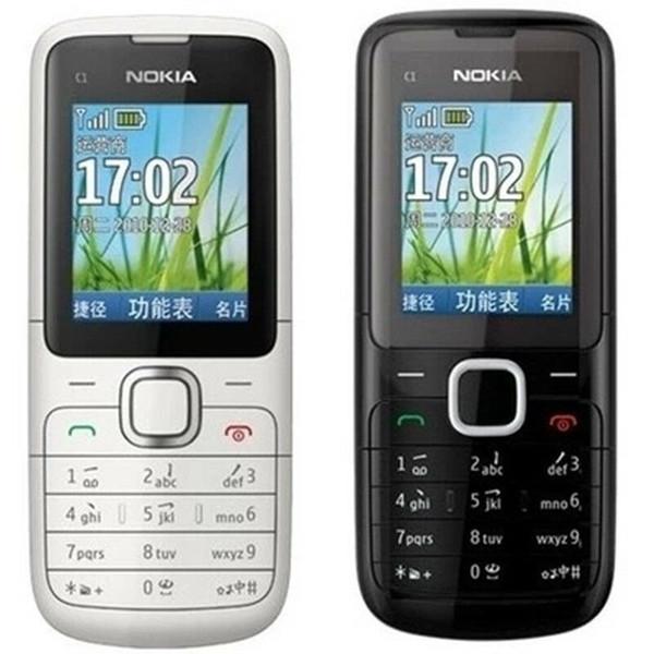 Original Nokia C1-01 Bluetooth GSM Bar 2G FM Radio Suporte Multi-Idioma Teclado Recuperado telefone desbloqueado com caixa
