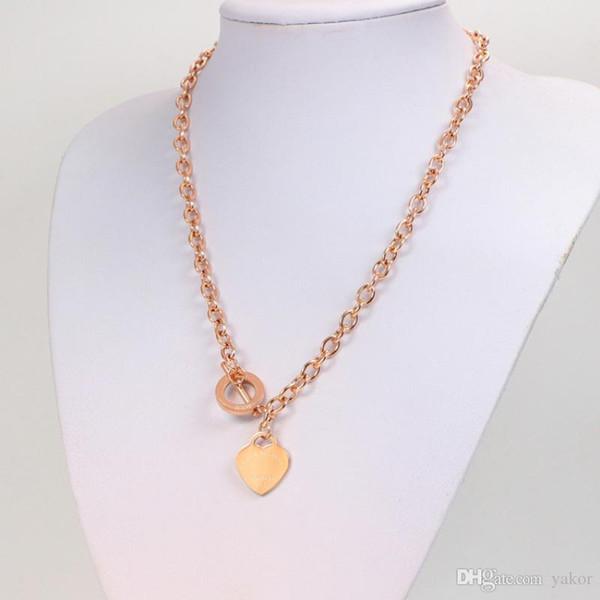 NOUVEAU haute qualité en acier inoxydable coeur pendentif chaîne collier en argent or rose plaqué or femmes collier de mariage avec boîte d'origine