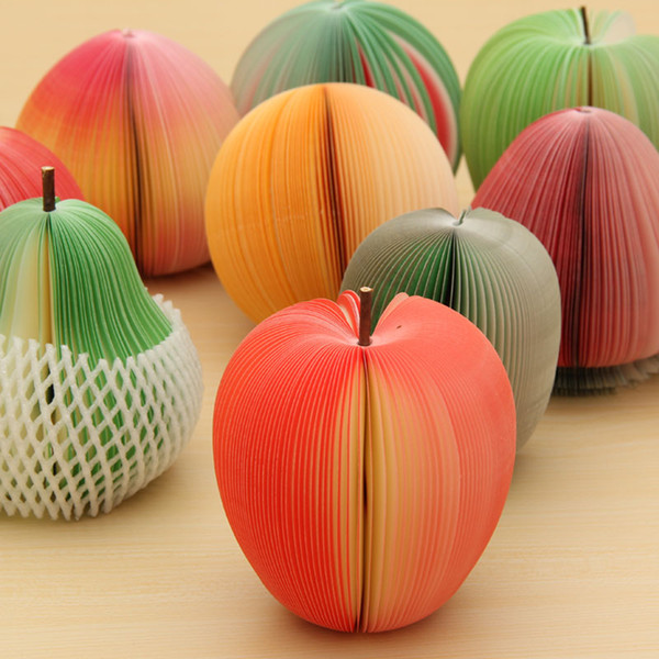 Fruit shaped memo pad Red Apple green pear Fruit Note Paper/Memo Pad sticker notepads