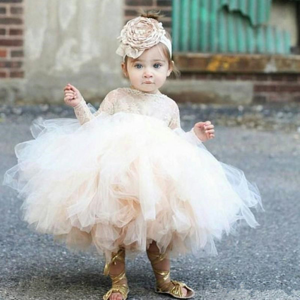 2019 Vintage Flower Girls' Dresses Ivory Baby Infant Toddler Baptism Clothes With Long Sleeves Lace Tutu Ball Gowns Birthday Party Dress
