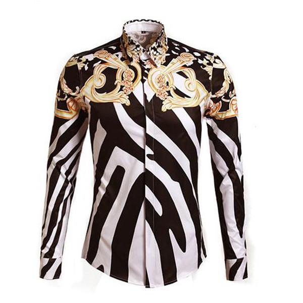 Lüks Kraliyet moda Şık Erkekler Gömlek Marka Tasarımcı Çiçek Baskı Uzun Kollu Fantezi Gömlek Casual Slim Fit Pamuk Elbise Gömlek