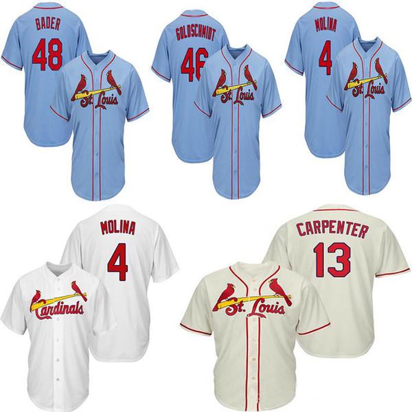 4 Molina St. Louis 1 Ozzie Smith Kardinaller 13 Marangoz 46 Goldschmidt 48 Porsuk Beyaz Kırmızı Mavi Serin Jersey