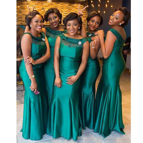 New Hunter Green Scoop Neckline Mermaid Bridesmaid Dresses Appliques Brooch Long Maid of Honor Dress Satin Black Girls Prom Gown 2019