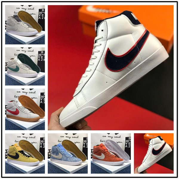 2020 Blazer Mid  Nike AIR pioneer shoes men women 77 Shoes Lucid Verde Vela Branca Chicago e Toronto Canvas Pacific Blue Habanero Red Shoes Tamanho 36-44
