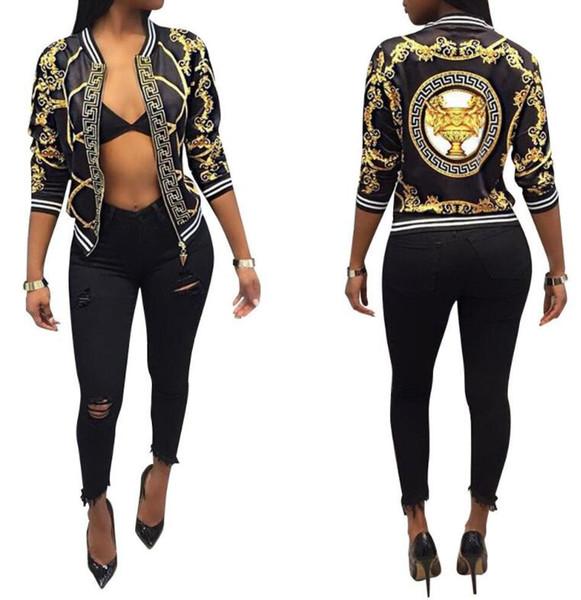 Marca diseñadores Tops capa de las mujeres forman a señoras floral retro cremallera hasta la chaqueta de bombardero chaqueta informal de béisbol otoño Outwear la ropa de las mujeres