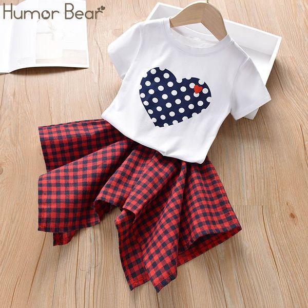 Mizah Ayı 2019 Yaz Yeni Kız Elbise Takım Elbise Kore Versiyonu Aşk T-Shirt + Ekose Etek 2 ADET Set Yürüyor Çocuk Bebek Kız Giyim