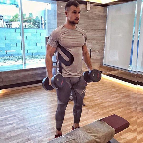 T-shirt imprimé sportif à manches courtes pour homme Design Running Running Training Tops à séchage rapide Respirant Fitness Basketball Vêtements de sport
