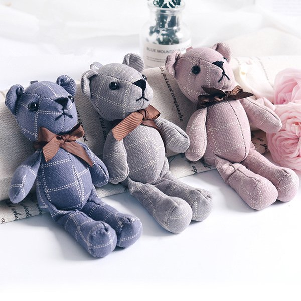 Mini Joint Bear Stuffed Plush Toys 20cm Cute Plaid Teddy Bears Pendant Dolls Gifts Birthday Wedding Party Decor