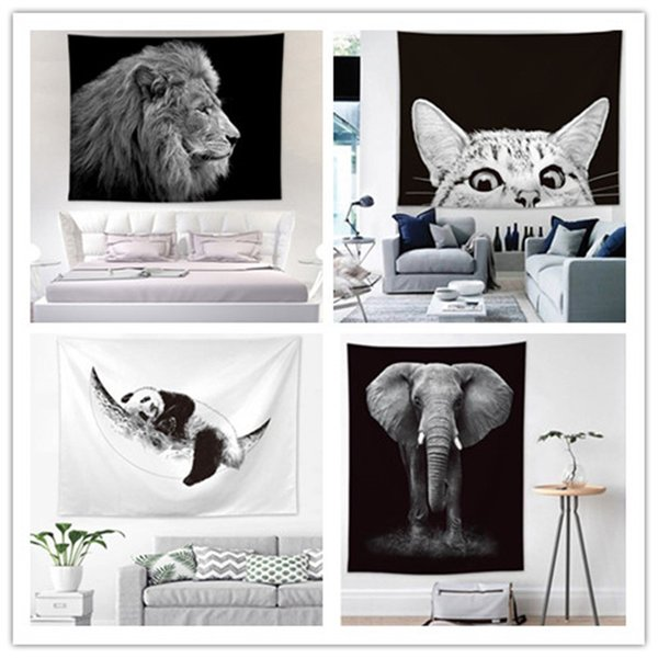 Home Decor Tier bedruckte Tapisserie Strandtuch Euramerican Wandbehang Dekoration Panda Lion Tiger Elefant Wandteppiche Wandbild Party Hintergrund